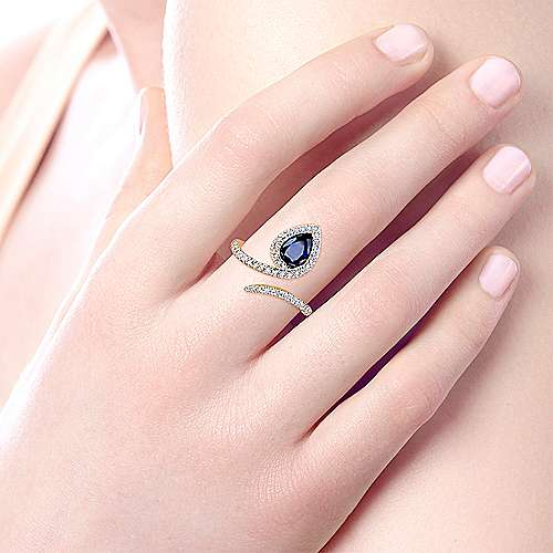14K Yellow Gold Pear Shaped Sapphire with Diamond Halo Bypass Ring