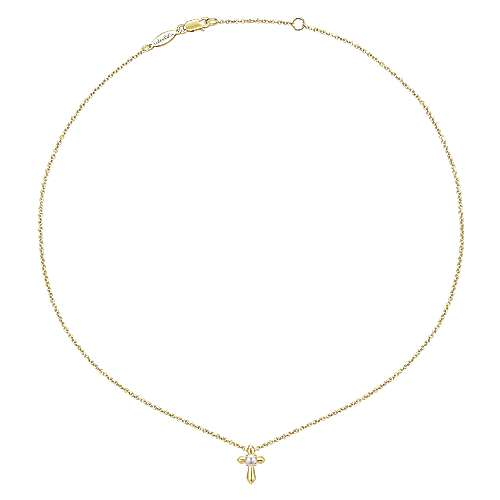 14K Yellow Gold Pearl Cross Pendant Necklace