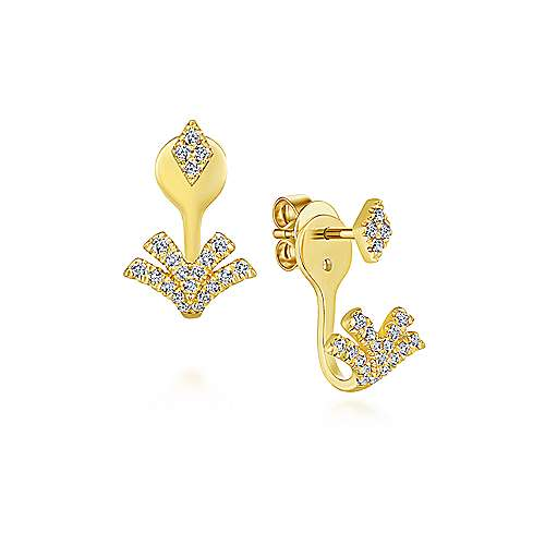 14K Yellow Gold Peek A Boo Chevron Diamond Earrings