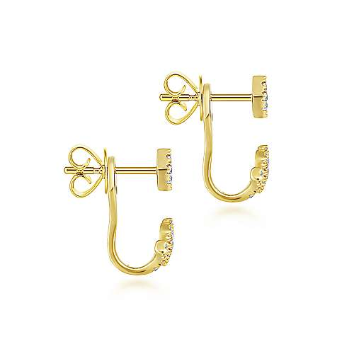 14K Yellow Gold Peek A Boo Chevron Diamond Earrings