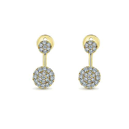 14K Yellow Gold Peek A Boo Circle Diamond Earrings