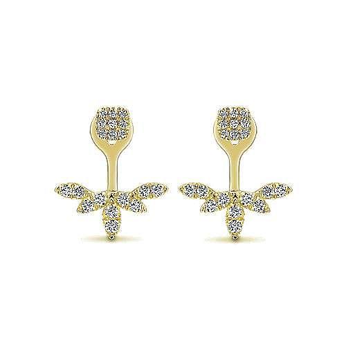 14K Yellow Gold Peek A Boo Diamond Earrings