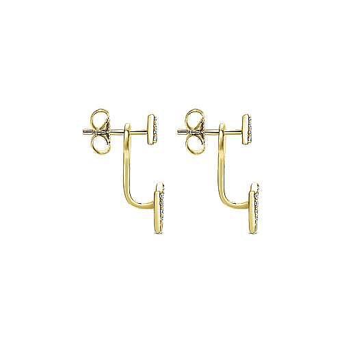 14K Yellow Gold Peek A Boo Diamond Triangle Earrings