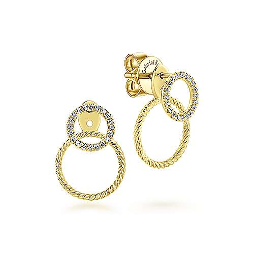 14K Yellow Gold Peek A Boo Double Circle Diamond and Twisted Rope Earrings
