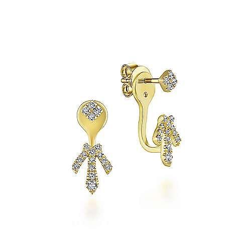 14K Yellow Gold Peek A Boo Square Stud Delicate Diamond Fan Earrings