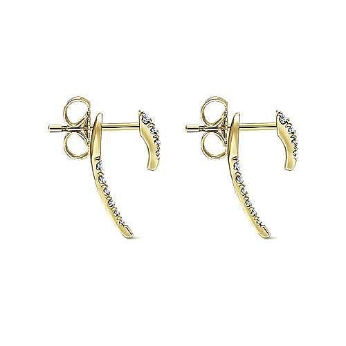 14K Yellow Gold Peek A Book Diamond Spike Earrings