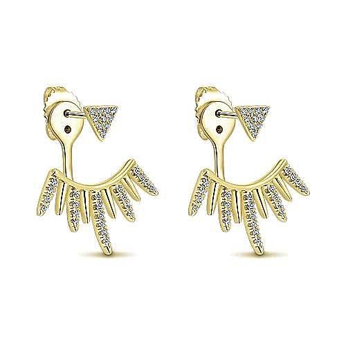 14K Yellow Gold Peek a Boo Spikes Diamond Earrings