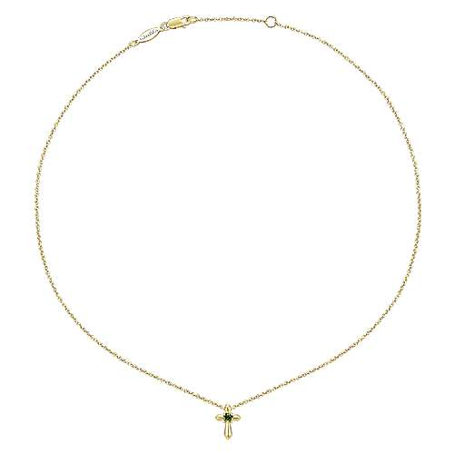 14K Yellow Gold Peridot Cross Pendant Necklace