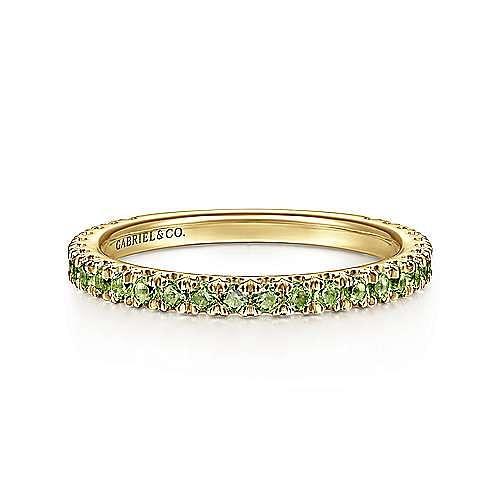 14K Yellow Gold Peridot Stackable Ring