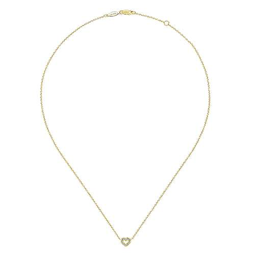 14K Yellow Gold Petite Open Heart Diamond Pendant Necklace