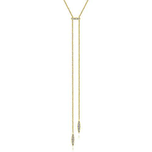 14K Yellow Gold Petite Pavé Diamond Bar and Spike Y Knot Necklace