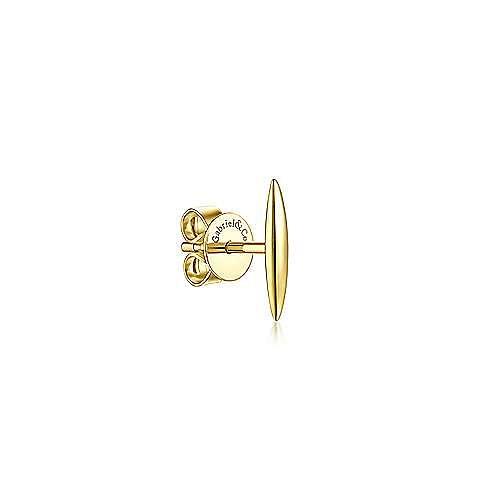 14K Yellow Gold Plain Bar Single Stud Earring