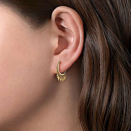 14K Yellow Gold Plain Huggie and Metal Spear Drops Single Earring