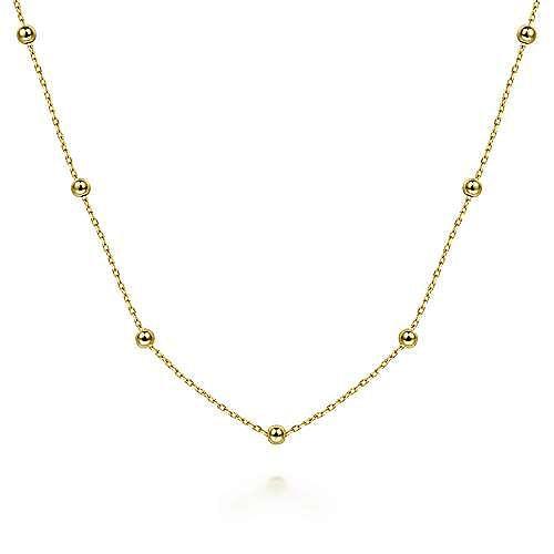 14K Yellow Gold Plain Necklace