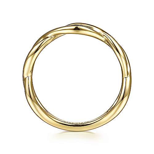 14K Yellow Gold Plain Twisted Stackable Ring