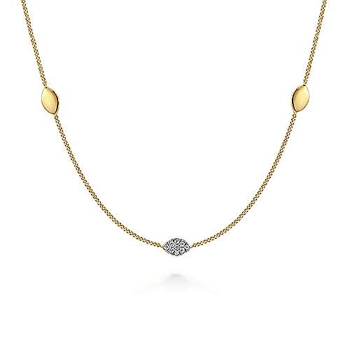 14K Yellow Gold Plain and Diamond Marquise Station Necklace