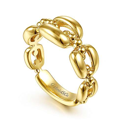 14K Yellow Gold Polished Chain Link Ring with Bujukan Bead Connector