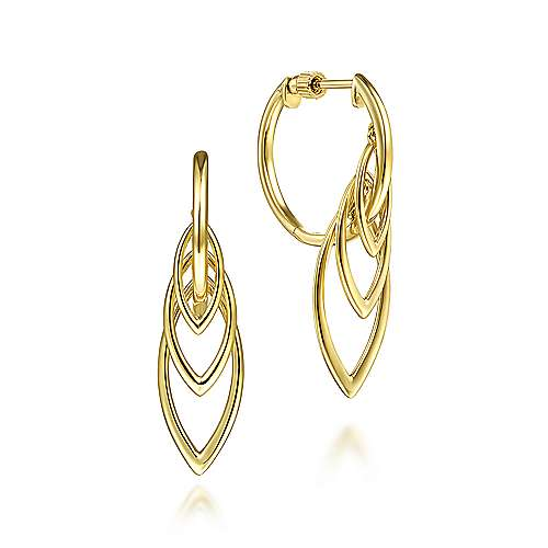 14K Yellow Gold Polished Huggies with Multi Marquise Drops