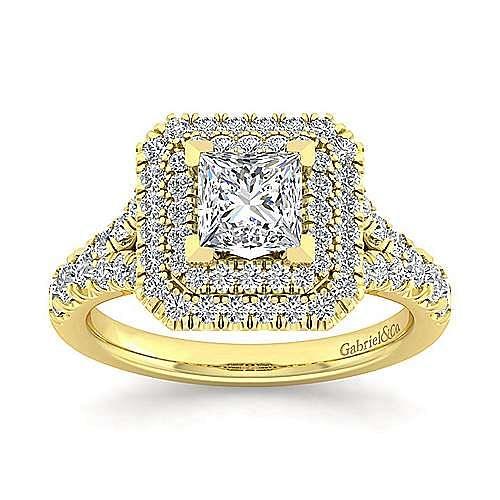 14K Yellow Gold Princess Cut Double Halo Diamond Engagement Ring
