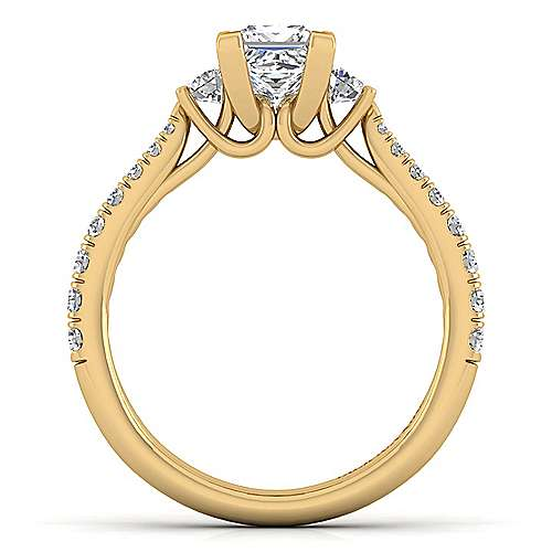 14K Yellow Gold Princess Cut Three Stone Diamond Engagement Ring