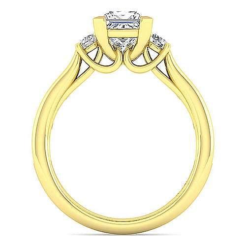 14K Yellow Gold Princess Cut Three Stone Diamond Engagement Ring