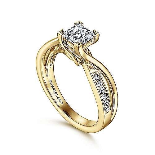 14K Yellow Gold Princess Cut Twisted Diamond Engagement Ring