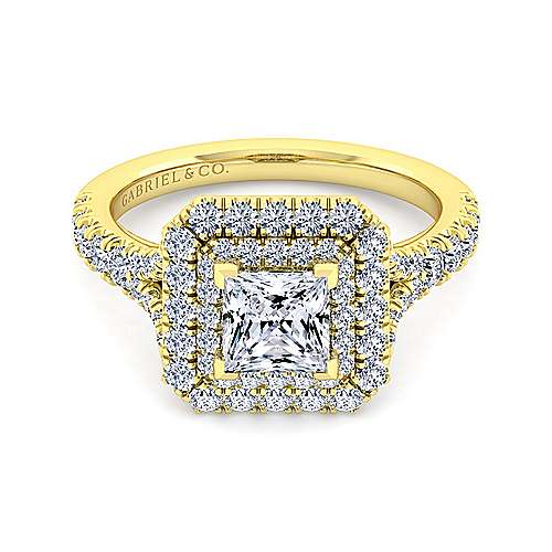 14K Yellow Gold Princess Double Halo Diamond Engagement Ring