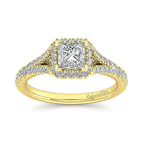 14K Yellow Gold Princess Halo Diamond Engagement Ring