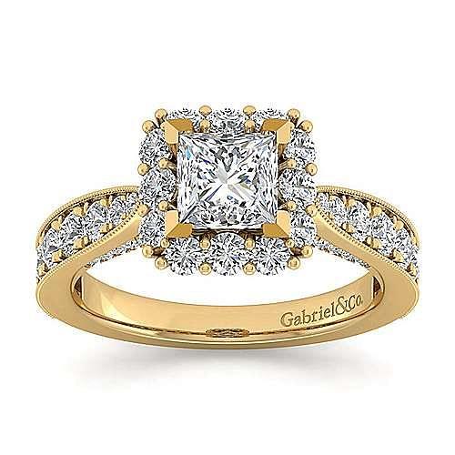 14K Yellow Gold Princess Halo Diamond Engagement Ring