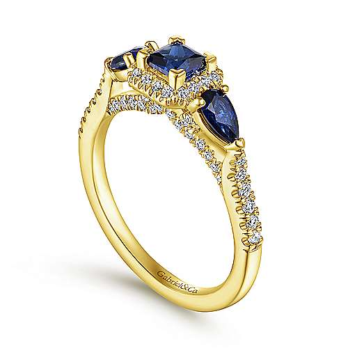 14K Yellow Gold Princess Halo Sapphire and Diamond Engagement Ring