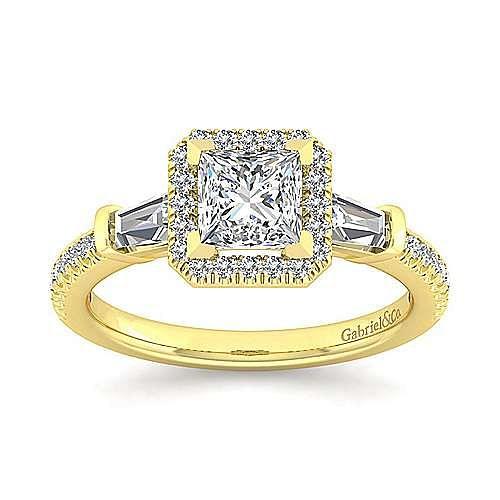 14K Yellow Gold Princess Three Stone Halo Diamond Engagement Ring