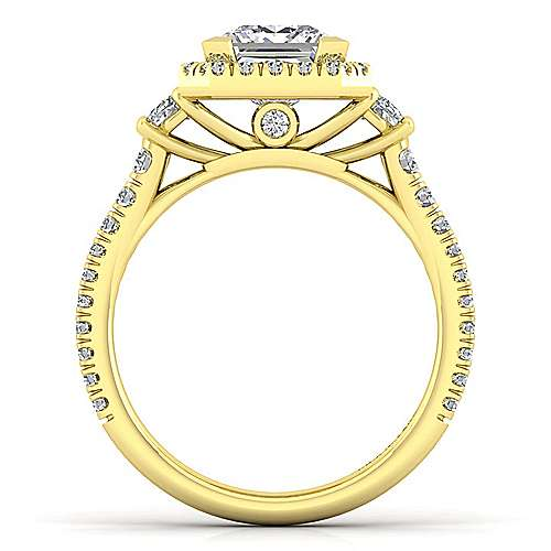 14K Yellow Gold Princess Three Stone Halo Diamond Engagement Ring