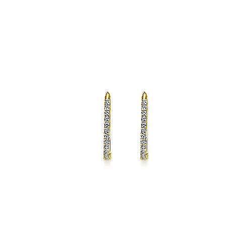 14K Yellow Gold Prong Set  15mm Round Classic Diamond Hoop Earrings