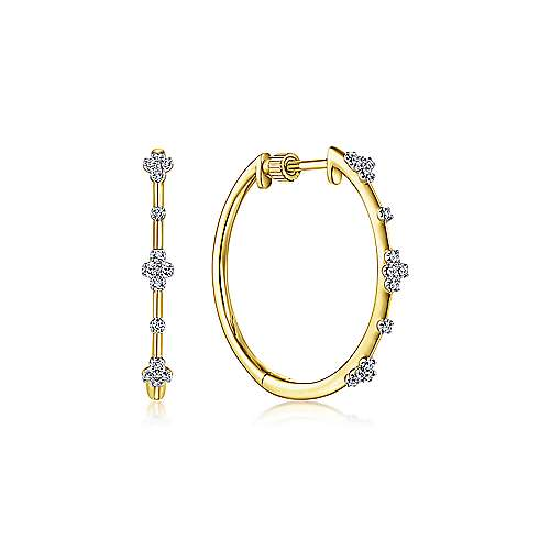 14K Yellow Gold Prong Set  20mm Round Classic Diamond Hoop Earrings