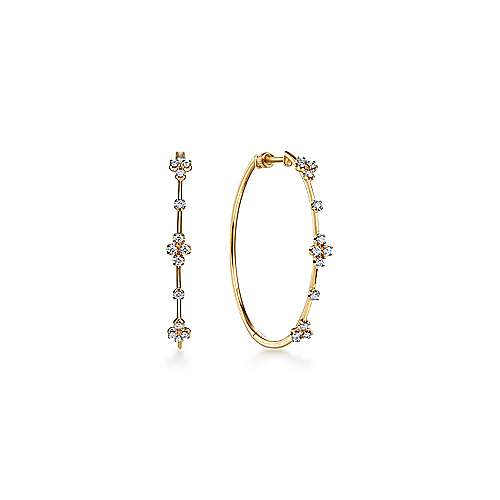 14K Yellow Gold Prong Set  40mm Round Classic Diamond Hoop Earrings