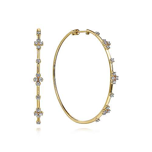 14K Yellow Gold Prong Set  60mm Round Classic Diamond Hoop Earrings