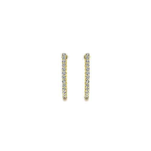 14K Yellow Gold Prong Set 20mm Round Inside Out Diamond Hoop Earrings
