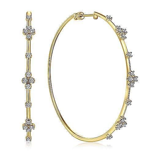14K Yellow Gold Prong Set 60mm Round Classic Diamond Hoop Earrings