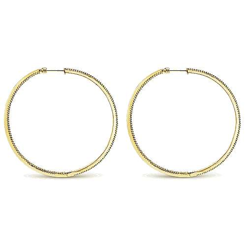 14K Yellow Gold Prong Set 60mm Round Inside Out Diamond Hoop Earrings