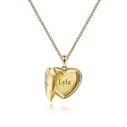 14K Yellow Gold Puff Heart Pendant Necklace with Diamond Star