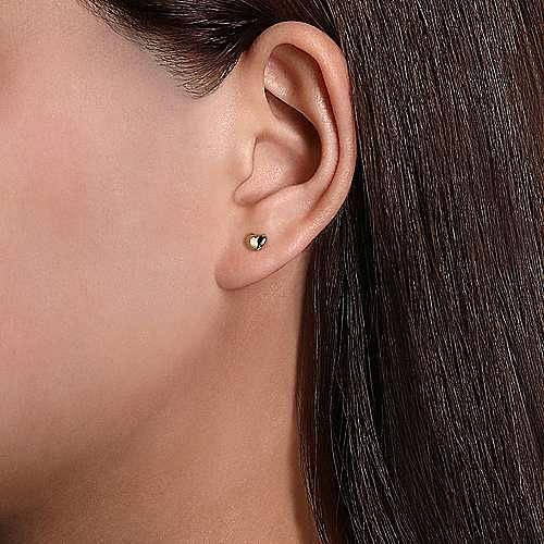 14K Yellow Gold Puff Heart Stud Earrings