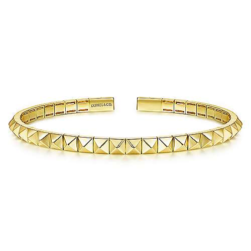 14K Yellow Gold Pyramid Cuff Bangle