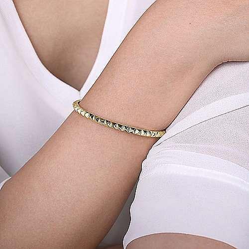 14K Yellow Gold Pyramid Cuff Bracelet