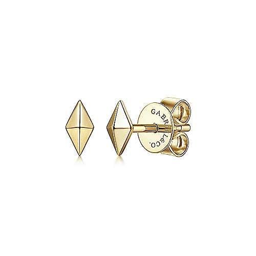 14K Yellow Gold Pyramid Kite Shape Stud Earrings