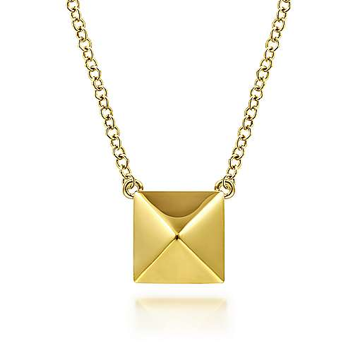 14K Yellow Gold Pyramid Pendant Necklace
