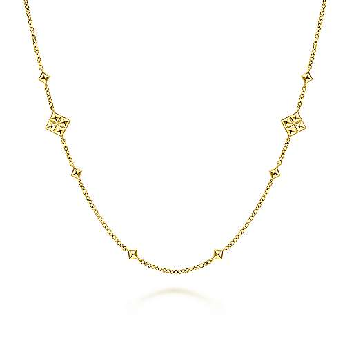 14K Yellow Gold Pyramid Quatrefoil Station Necklace