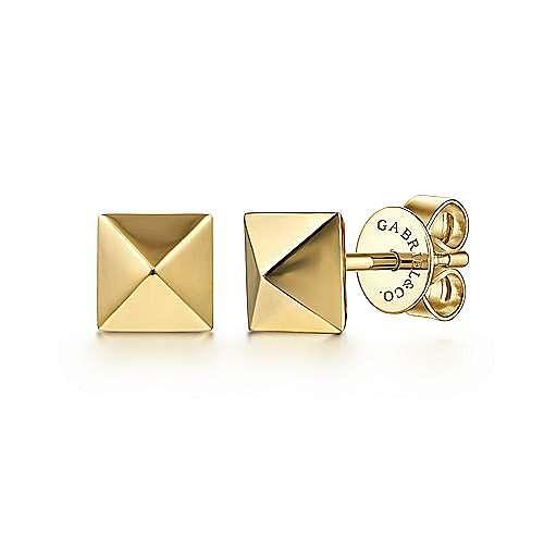 14K Yellow Gold Pyramid Stud Earrings