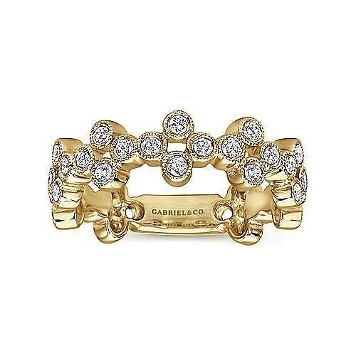 14K Yellow Gold Quatrefoil Bezel Set Diamond Band