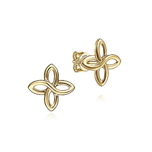 14K Yellow Gold Quatrefoil Stud Earrings