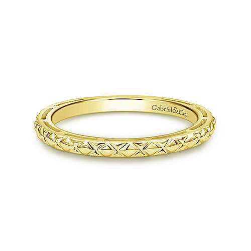 14K Yellow Gold Quilted Stackable  Ladies Ring